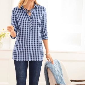 Talbots Blue Gingham Button Pullover / Popover Top